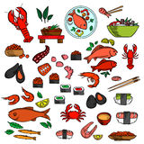 Seafood, fish and delicatessen icons Stock Photos