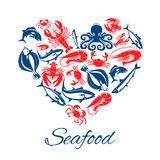 Seafood fish food heart vector poster. Seafood heart poster of vector fish and mollusks lobster or crab crayfish, shrimp or prawn and flounder, tuna and salmon Stock Photography