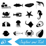 Seafood and fish food theme set of simple icons eps10. Seafood and fish food theme set of simple icons Royalty Free Stock Image