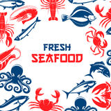 Seafood and fish food vector poster. Poster for seafood and fish food restaurant or industry with shrimp, crab lobster, tuna and salmon or trout, squid and crab Royalty Free Stock Photos