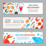 Seafood and fish icons. Seafood and fish advertising banners. Crab lobster flounder salmon dorado eel mussel squid octopus turtle caviar haddock oyster scallop Royalty Free Stock Photos