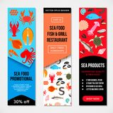 Seafood and fish icons. Seafood and fish advertising banners. Crab lobster flounder salmon dorado eel mussel squid octopus turtle caviar haddock oyster scallop Royalty Free Stock Photography
