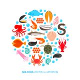 Seafood and fish icons. Crab lobster flounder salmon dorado eel mussel squid octopus turtle caviar haddock oyster scallop vector illustration for restaurant Stock Photo