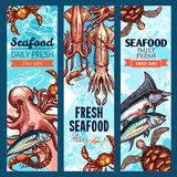Seafood and fish market banner set with sea animal. Seafood and fish market banner set. Fresh crab, salmon, shrimp, tuna, blue marlin, octopus, prawn, squid and Royalty Free Stock Photo