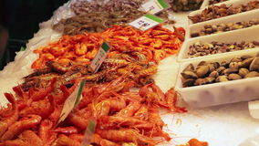 Seafood at fish market in Barcelona, Spain
