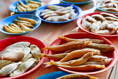Seafood. Fish Market In Thailand. Healthy Nutrition. Food Backgr. Seafood. Fish Market. Close Up Of Variety Of Fresh Caught Raw Different Species Fish At Market Stock Photos