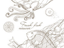 Seafood and fish net Stock Images