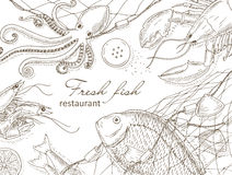 Seafood and fish net Royalty Free Stock Photos