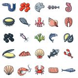 Seafood fish ocean icons set, cartoon style. Seafood fish ocean icons set. Cartoon illustration of 25 seafood fish ocean vector icons for web Stock Images