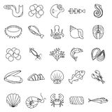 Seafood fish ocean icons set, outline style. Seafood fish ocean icons set. Outline illustration of 25 seafood fish ocean vector icons for web Royalty Free Stock Photos