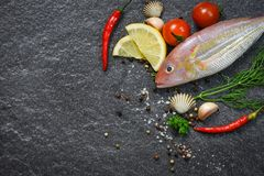 Seafood fish plate ocean gourmet dinner fresh raw fish with herbs and spices. On dark background stock photos