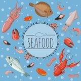 Seafood, fish products for the fish market or restaurant vector illustration in cartoon style, design element for poster. Seafood, fish products for the fish Royalty Free Stock Images