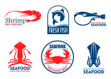 Seafood and fish products icons. Seafood icons. Vector fish food products labels. Shrimp, squid, crab elements for signboard, menu, restaurant, shop, cafe Royalty Free Stock Photo