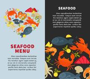 Seafood fresh fish menu vector web site store design template. Seafood fish restaurant menu design template for fresh sea food. Vector heart of seafood oyster Stock Photography