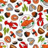 Seafood and fish seamless wallpaper background. Seafood and fish dish seamless background. Wallpaper with vector pattern icons of lobster, shrimp, crab, salmon Royalty Free Stock Image
