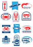 Seafood and fish symbol set for food design. Seafood and fish symbol set. Lobster, crab, shrimp, salmon, tuna, octopus, squid and flounder fresh fish emblem for Royalty Free Stock Photos