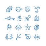 Seafood, fish thin line vector icons Royalty Free Stock Photo