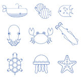 Seafood, fish and underwater animals linear icons. Starfish and turtle, undersea seaweed, octopus and crab, jellyfish linear. Vector illustration Stock Photography