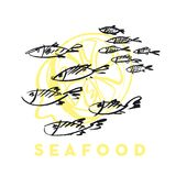 Seafood fish and wave abstract design element. Seafood fish and wave abstract hand drawn design elements for menu, poster, invitation. vector traced graphic Stock Photos