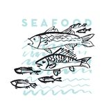 Seafood fish and wave abstract hand drawn design element. S for menu, poster, invitation. vector traced graphic illustration Stock Images