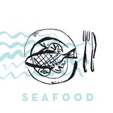 Seafood fish and wave abstract hand drawn design elements for me. Nu, poster, invitation. vector traced graphic illustration Stock Image