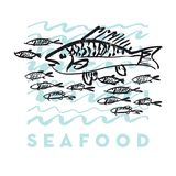 Seafood fish and wave abstract hand drawn design elements. For menu, poster, invitation. vector traced graphic illustration Royalty Free Stock Images