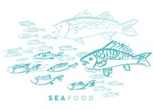 Seafood fish and wave. Abstract hand drawn design elements for menu, poster, invitation. vector traced graphic illustration Royalty Free Stock Photography