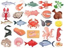 Seafood Flat Icons Big Set Stock Photos