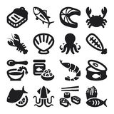Seafood flat icons. Black Stock Photo