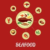 Seafood flat infographic design Royalty Free Stock Photo