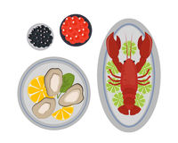 Seafood flat tasty cooking delicious can be used for layout advertising and fresh shrimp shellfish web design gourmet Royalty Free Stock Photos
