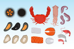 Seafood flat tasty cooking delicious can be used for layout advertising and fresh shrimp shellfish web design gourmet. Restaurant meal vector illustration. Raw Stock Images