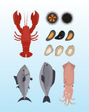 Seafood flat tasty cooking delicious can be used for layout advertising and fresh shrimp shellfish web design gourmet. Restaurant meal vector illustration. Raw Stock Photography