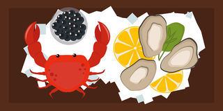 Seafood flat tasty cooking delicious can be used for layout advertising and fresh shrimp shellfish web design gourmet. Restaurant meal vector illustration. Raw Royalty Free Stock Photos