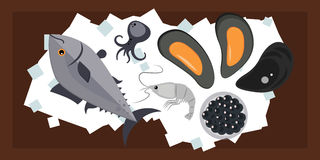 Seafood flat tasty cooking delicious can be used for layout advertising and fresh shrimp shellfish web design gourmet. Restaurant meal vector illustration. Raw Stock Image