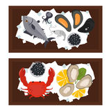 Seafood flat tasty cooking delicious can be used for layout advertising and fresh shrimp shellfish web design gourmet. Restaurant meal vector illustration. Raw Stock Photo