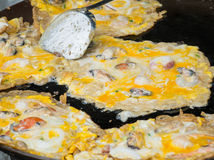 Seafood and flour frying. In pan at market Royalty Free Stock Photography