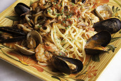 Seafood Fra Diavolo with Linguine Stock Photo