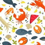 Seafood fresh fish catch vector seamless pattern background. Seafood and fresh fish pattern background for for sea food restaurant. Vector flat seamless design Royalty Free Stock Photos