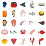 Seafood fresh fish food icons set vector isolated. Seafood fresh fish food icons set. Flat illustration of 25 seafood fresh fish food vector icons isolated on Royalty Free Stock Images