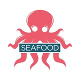 Seafood or fresh fish food market vector isolated icon Royalty Free Stock Photo