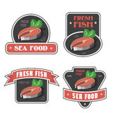 Seafood and fresh fish label or logo vector illustration. Seafood signs and fresh fish label or logo vector illustration. Salmon or trout Royalty Free Stock Images