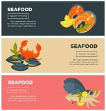 Seafood fresh fish menu vector web banners design template. Seafood fresh fish web banners flat design template for restaurant menu or store market. Vector sea Royalty Free Stock Image