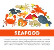 Seafood fresh fish poster sea food restaurant fisher market and chef cooking recipe. Seafood fresh fish poster for sea food restaurant or fisher market and chef Royalty Free Stock Photography