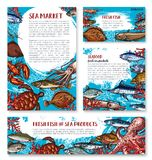 Vector seafood posters of sketch fresh fish. Seafood and fresh fish sketch banners and posters template for sea food or fisherman market and fishing sport shop Stock Images