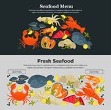 Seafood fresh fish menu vector web site store design template. Seafood fresh fish web site flat design template for restaurant menu or store market. Vector sea Royalty Free Stock Photo