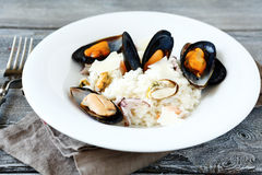 Seafood fresh mussels with rice Stock Images
