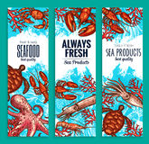 Seafood restaurant sea food banners vector set. Seafood or fresh sea food products banners for fish restaurant. Vector set of fishing catch octopus or lobster Stock Photo