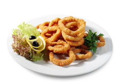 Seafood - Fried Calamari. Deep-fried Squid Dressed with Salad Leaves, Parsley, Olives and Lemon. Isolated on White Background royalty free stock photos