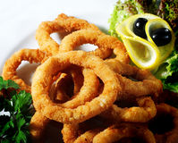 Seafood - Fried Calamari. Deep-fried Squid Dressed with Salad Leaves, Parsley, Olives and Lemon royalty free stock image